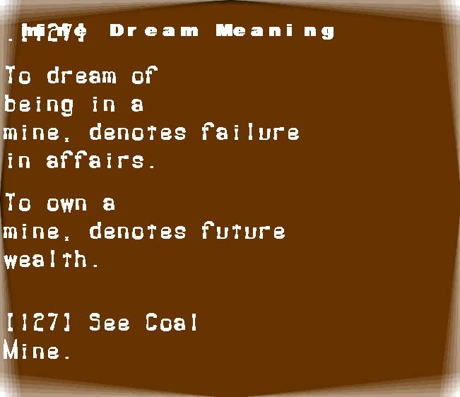 dream meanings mine