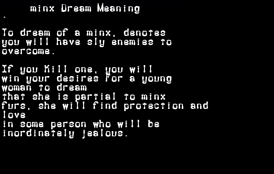 dream meanings minx