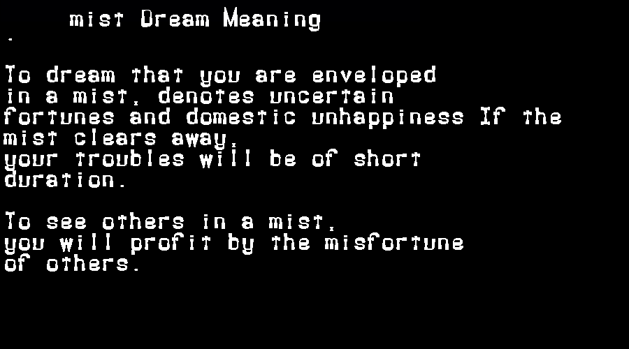 dream meanings mist