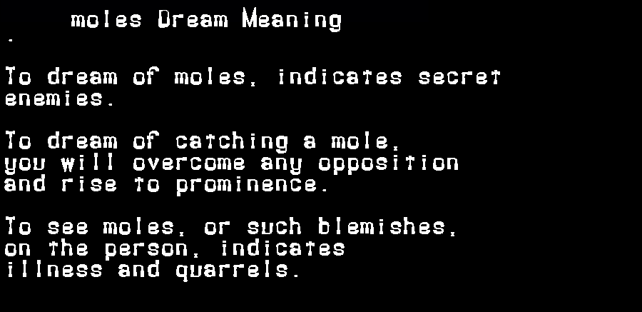 dream meanings moles