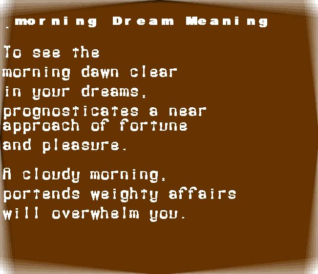 dream meanings morning