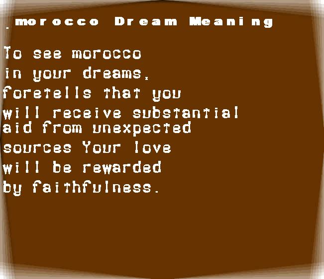 dream meanings morocco