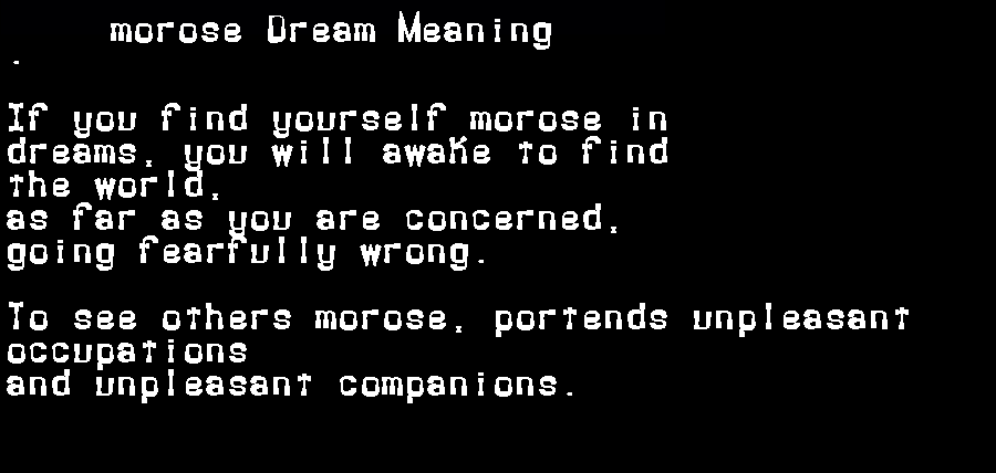 dream meanings morose