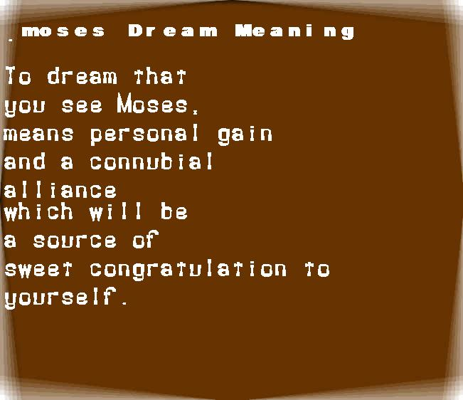 dream meanings moses