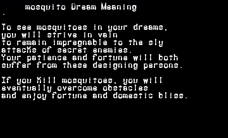 dream meanings mosquito