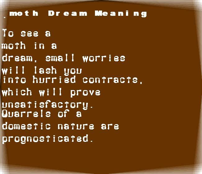 dream meanings moth
