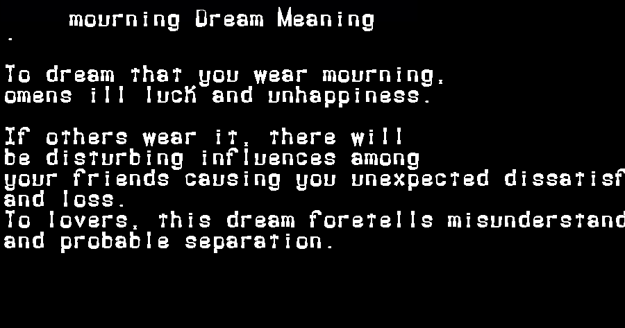 dream meanings mourning