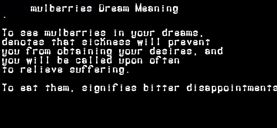dream meanings mulberries