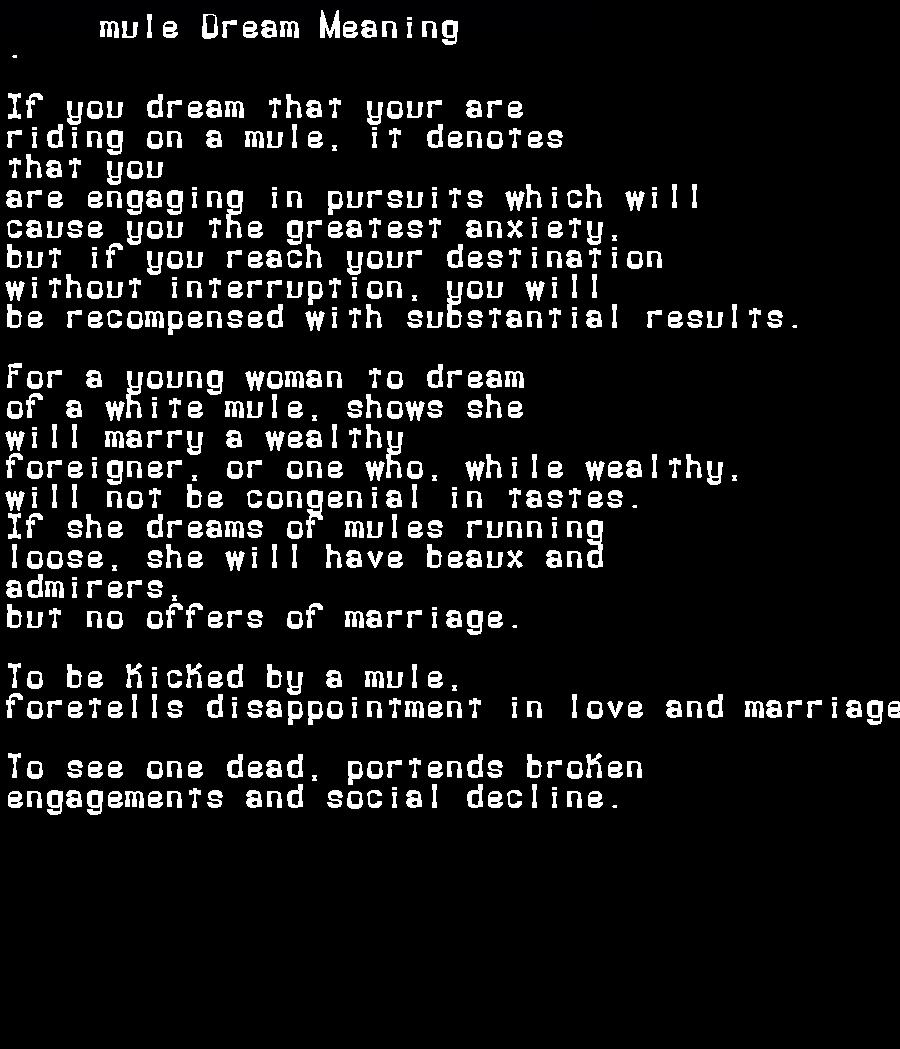 dream meanings mule