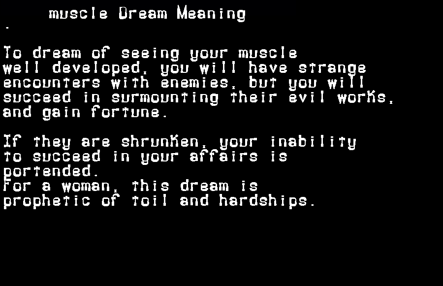 dream meanings muscle
