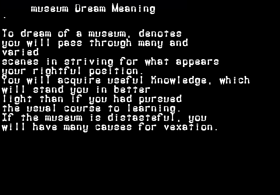 dream meanings museum
