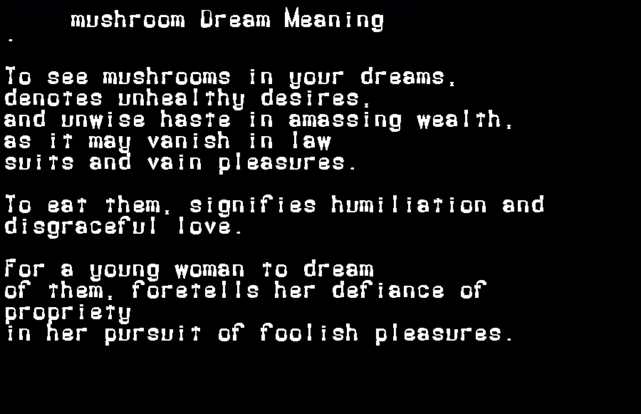 dream meanings mushroom