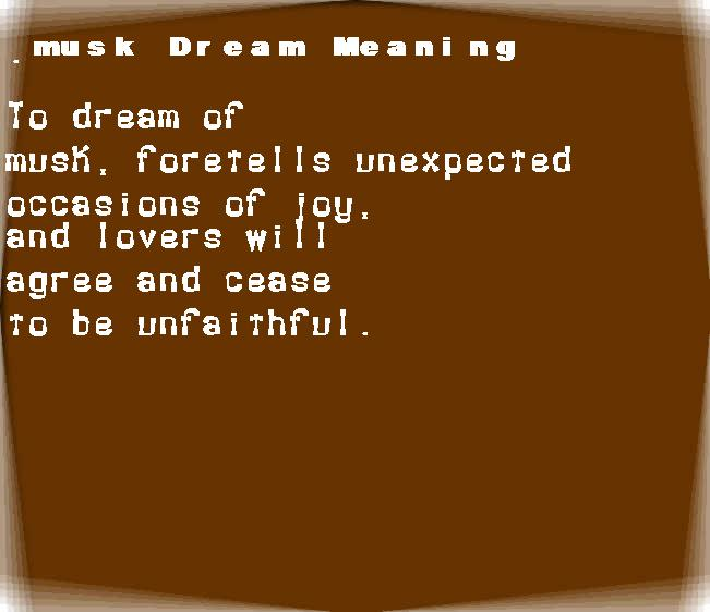 dream meanings musk