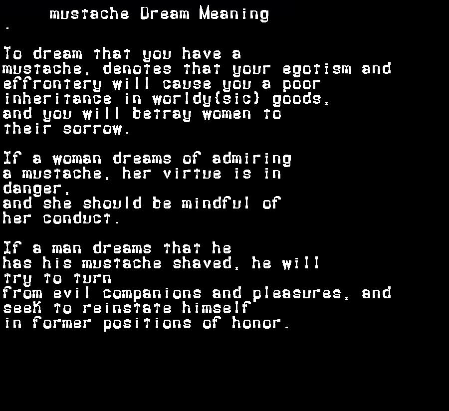 dream meanings mustache