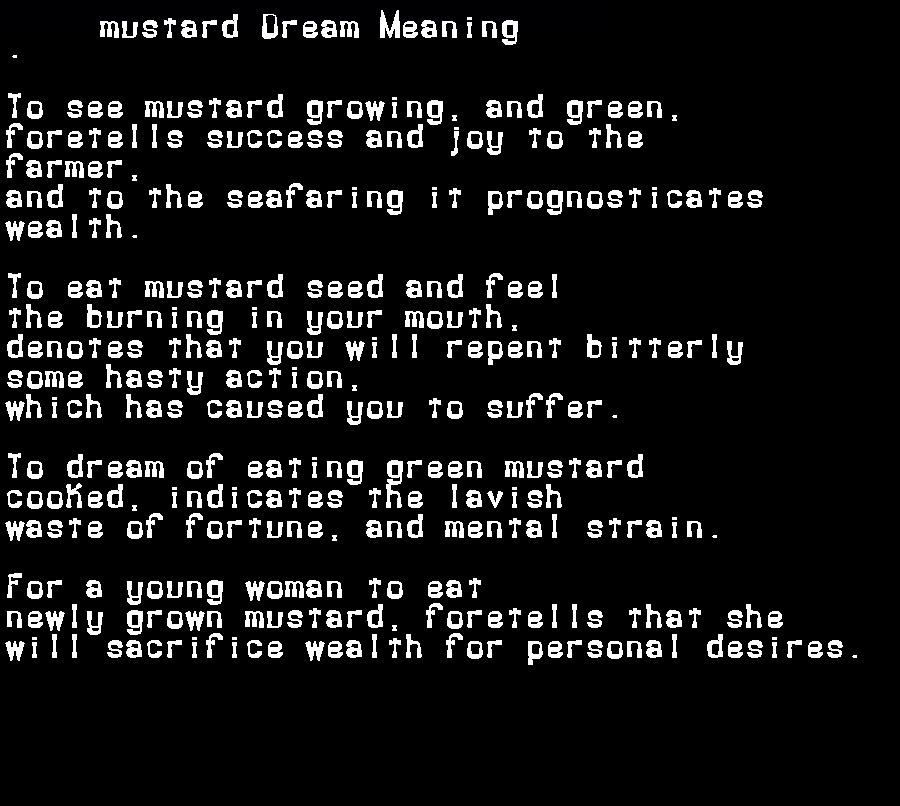 dream meanings mustard