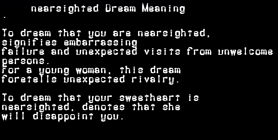 dream meanings nearsighted