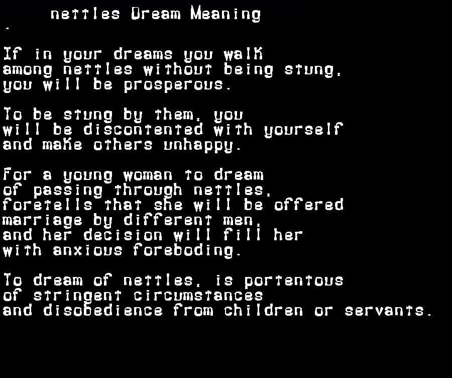 dream meanings nettles