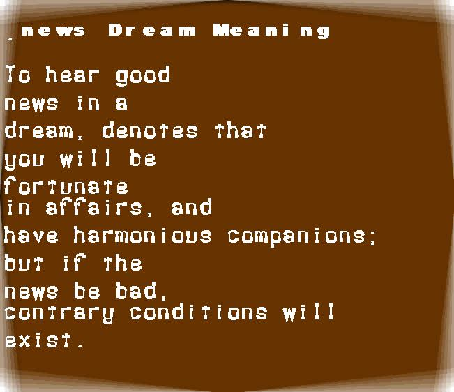 dream meanings news