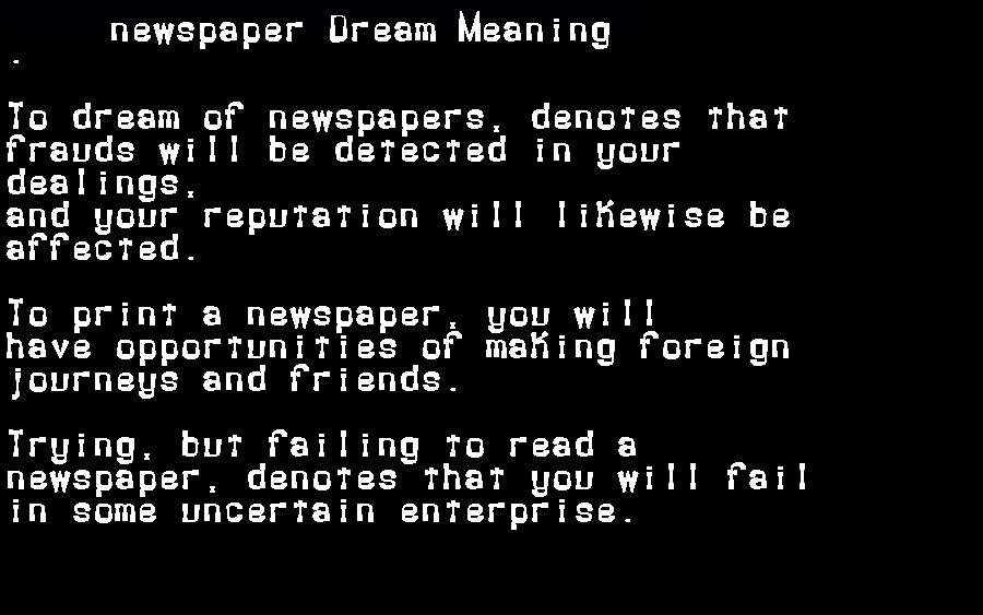 dream meanings newspaper