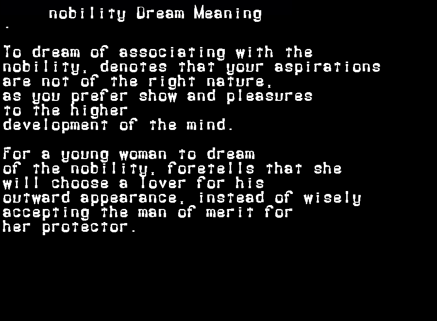 dream meanings nobility