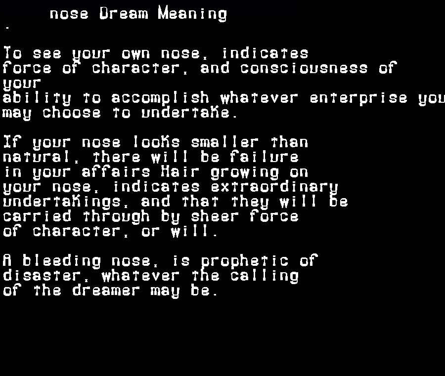 dream meanings nose