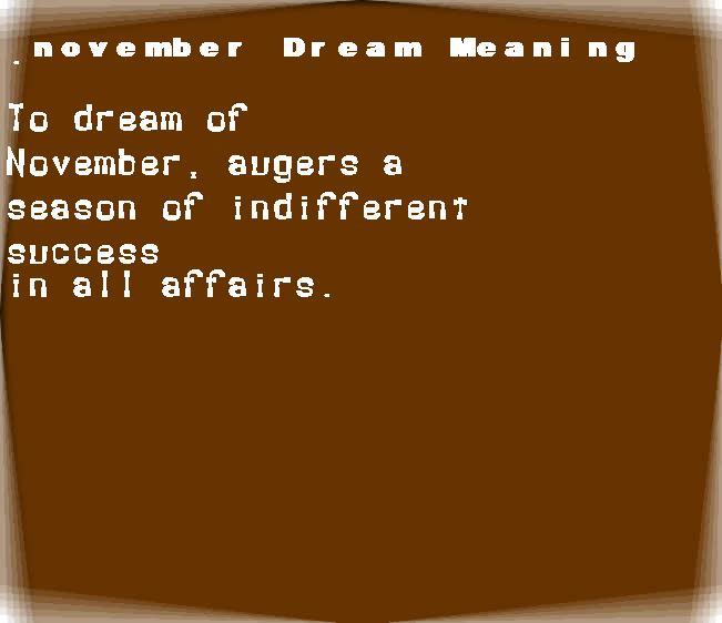 dream meanings november