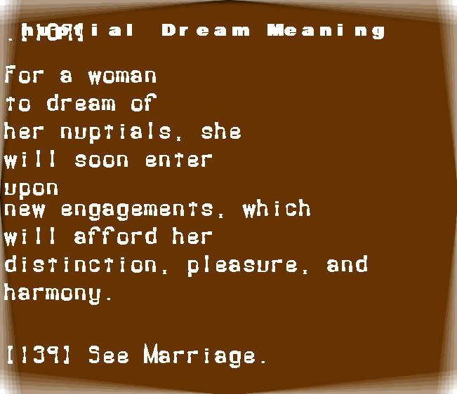 dream meanings nuptial