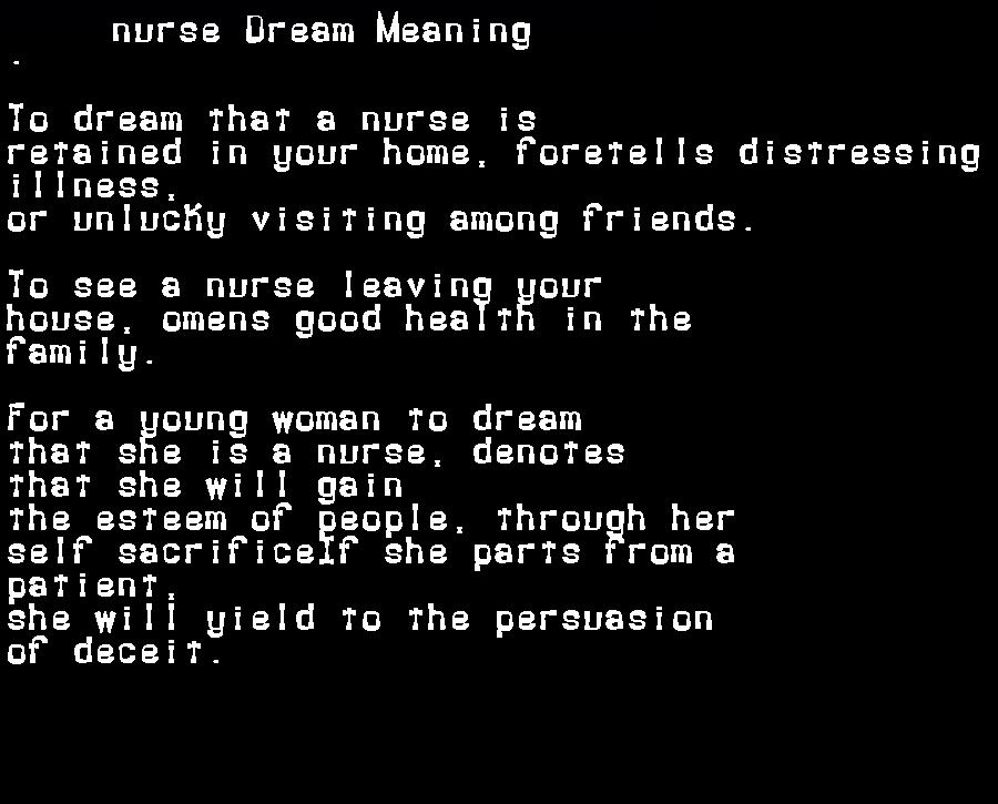 dream meanings nurse