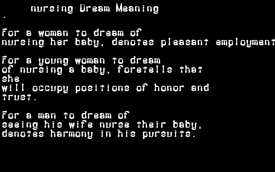 dream meanings nursing