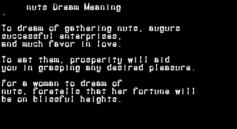 dream meanings nuts