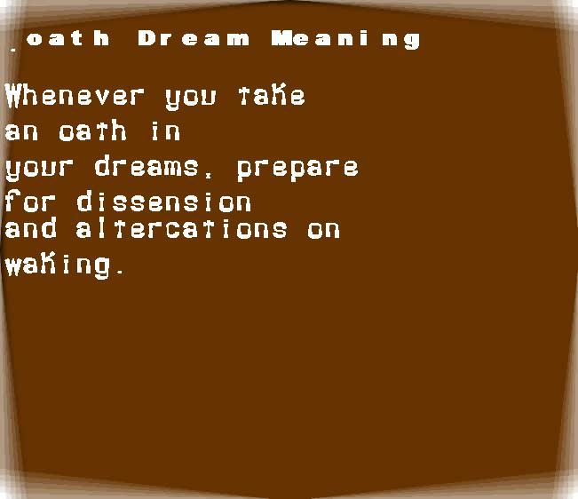 dream meanings oath