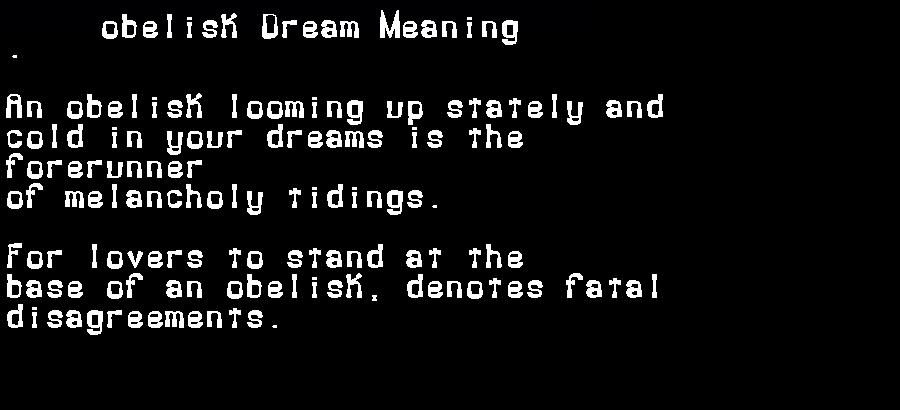 dream meanings obelisk