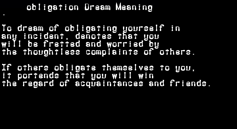 dream meanings obligation