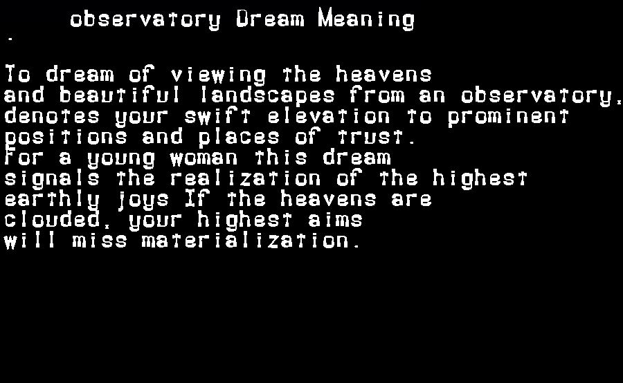 dream meanings observatory