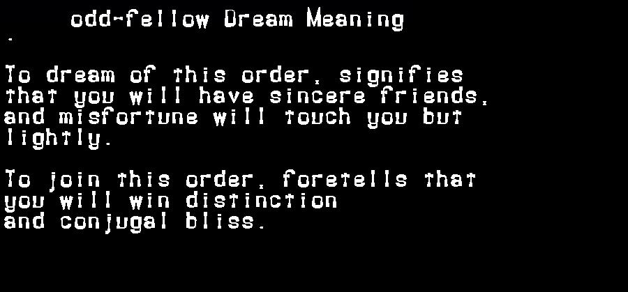 dream meanings odd-fellow