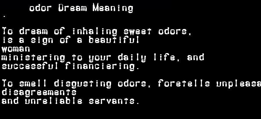 dream meanings odor