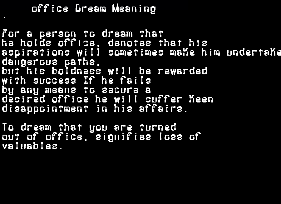 dream meanings office