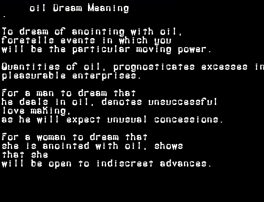 dream meanings oil