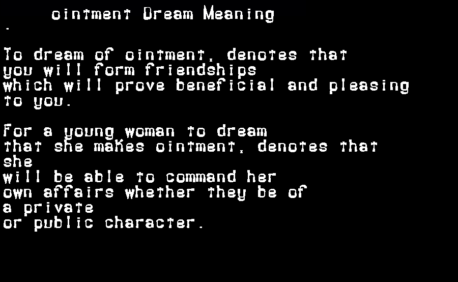 dream meanings ointment