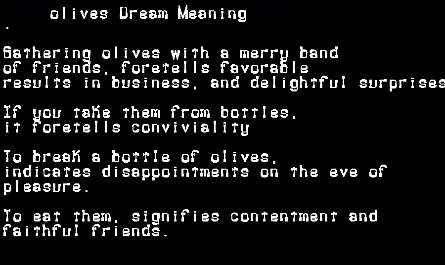 dream meanings olives
