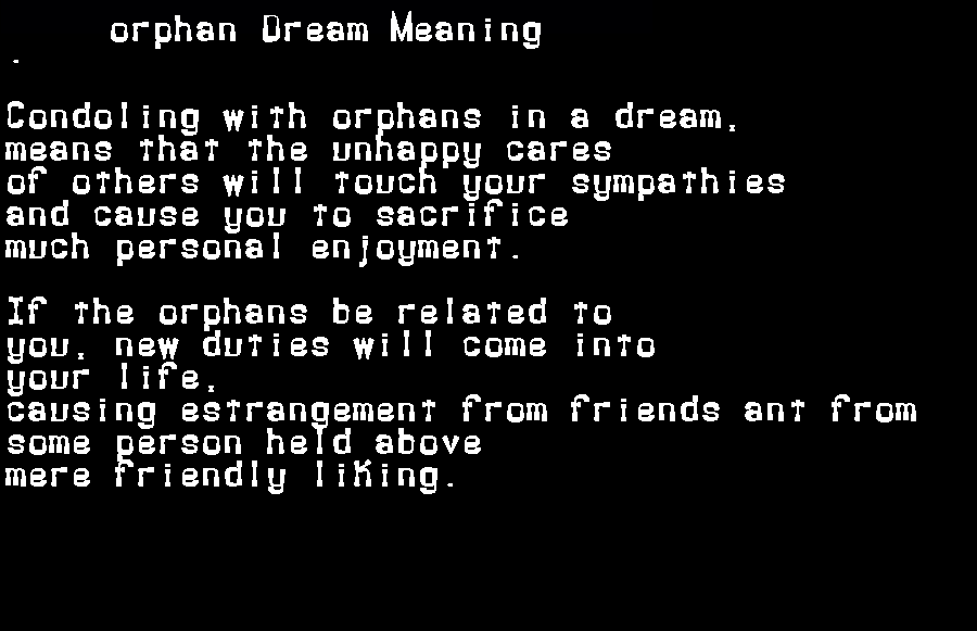 dream meanings orphan