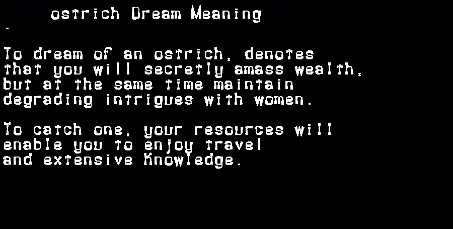 dream meanings ostrich
