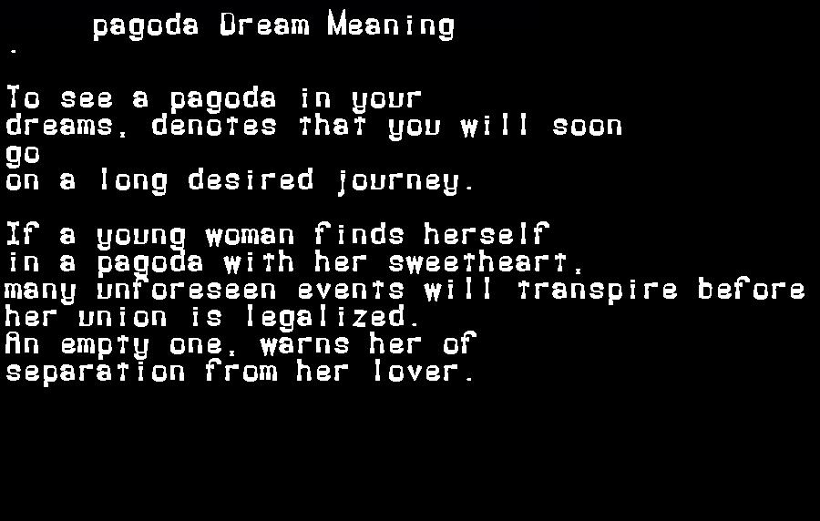 dream meanings pagoda