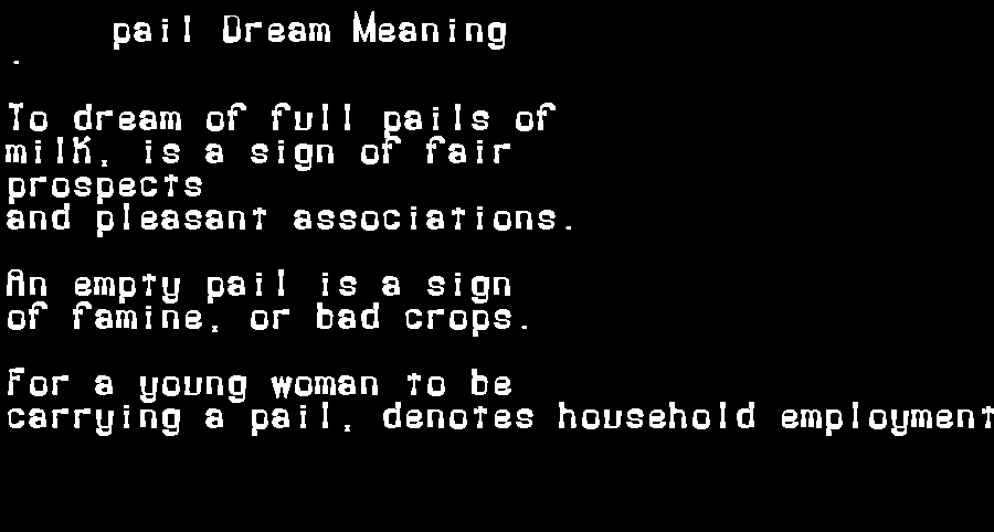 dream meanings pail