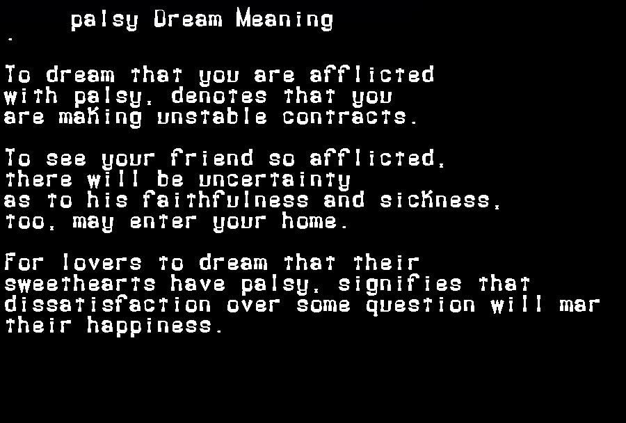 dream meanings palsy