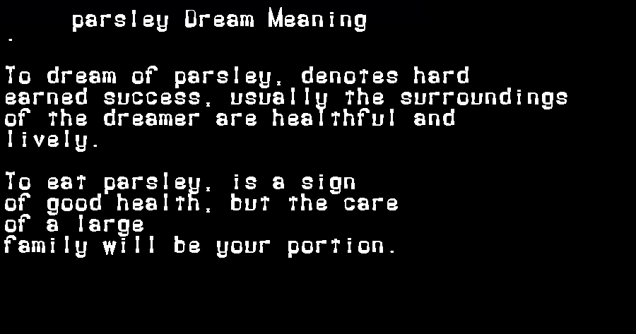 dream meanings parsley