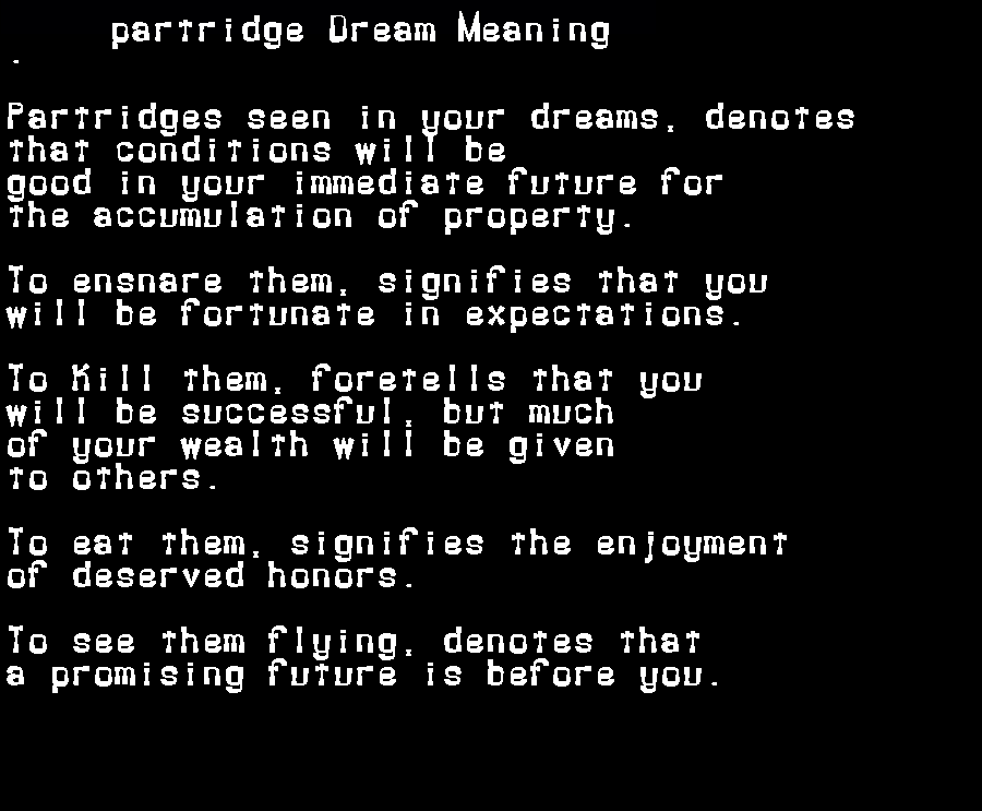 dream meanings partridge