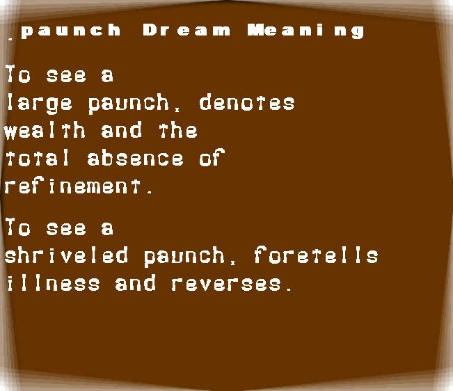 dream meanings paunch