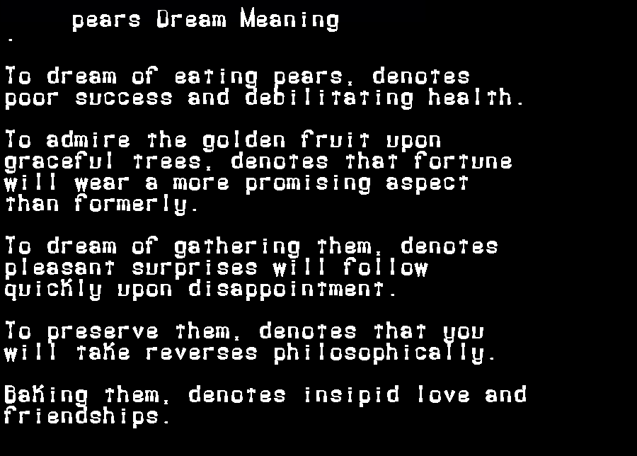 dream meanings pears