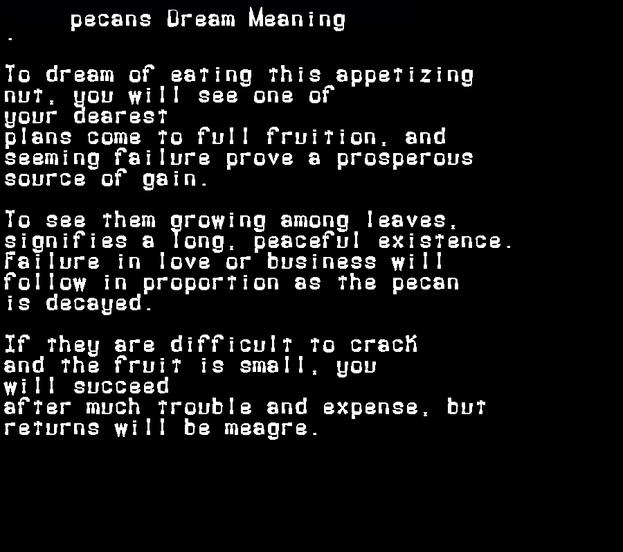 dream meanings pecans